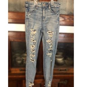 Size 10, American Eagle light wash ripped jeans